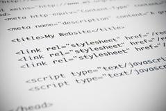 Página do código do HTML Fotografia de Stock