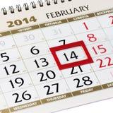 Página do calendário com quadro vermelho o 14 de fevereiro de 2014. Fotos de Stock Royalty Free