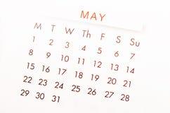 Página do calendário de maio Fotos de Stock Royalty Free