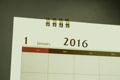 Página do calendário do mês 2016 Foto de Stock Royalty Free