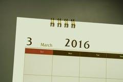 Página do calendário do mês 2016 Imagens de Stock