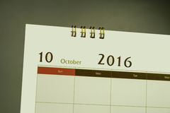 Página do calendário do mês 2016 Imagem de Stock Royalty Free