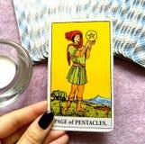 Página do cartão de tarô dos Pentacles que procura/empreendedor alto de pensamento das perspectivas excelentes da abundância do s imagens de stock