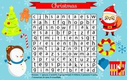 Página do divertimento do Natal para crianças Jogo de Eductaional das crianças Enigma da busca da palavra Tema dos feriados do an ilustração royalty free
