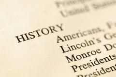 Página do livro de História. Imagem de Stock