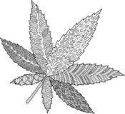 Página do livro para colorir com a folha decorativa do cannabis ilustração do vetor