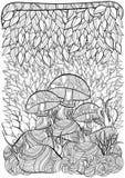 Página do livro para colorir para adultos Cena com cogumelos Fotografia de Stock Royalty Free
