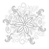 A página do livro para colorir para a linha criação, coração e flores dos adultos da arte, relaxa e meditação ilustração royalty free