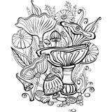 Página do livro para colorir para o adulto com cogumelos ilustração royalty free
