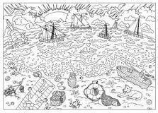 Página do livro para colorir Praia após a tempestade ilustração do vetor