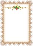 Página do Natal do vintage com azevinho Fotografia de Stock
