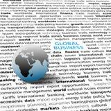 Página do texto do globo do mundo das edições de negócio global Imagens de Stock Royalty Free