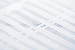 Página dos preços de mercado conservados em estoque Fotografia de Stock Royalty Free