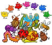Página educacional das cores básicas para crianças ilustração stock
