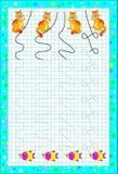 Página educacional para crianças em um papel quadrado Tire as linhas e junte-se aos gatos com os peixes Imagem de Stock