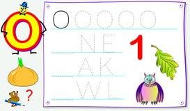 Página educacional para jovens crianças com letra O para o inglês do estudo Habilidades tornando-se para escrever e ler Fotografia de Stock