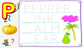 Página educacional para jovens crianças com letra P para o inglês do estudo Habilidades tornando-se para escrever e ler Imagens de Stock Royalty Free