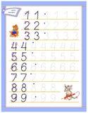 Página educacional para que as crianças estudem números da escrita Folha para o livro de texto das crianças Habilidades tornando- ilustração stock