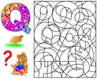 Página educativa con la letra Q para las letras del inglés del estudio Rompecabezas de la lógica El hallazgo y pinta 5 letras Q Fotos de archivo libres de regalías