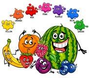 Página educativa de los colores básicos con las frutas Imagen de archivo libre de regalías
