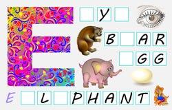Página educativa para los niños con la letra E para el inglés del estudio Necesite escribir las letras en los cuadrados vacíos Foto de archivo libre de regalías