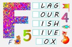 Página educativa para los niños con la letra F para el inglés del estudio Necesite escribir las letras en los cuadrados vacíos Imagenes de archivo