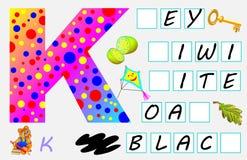 Página educativa para los niños con la letra K para el inglés del estudio Necesite escribir las letras en los cuadrados vacíos Foto de archivo