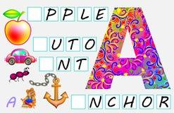 Página educativa para los niños con la letra A para el inglés del estudio Necesite escribir las letras en los cuadrados vacíos Imagen de archivo libre de regalías