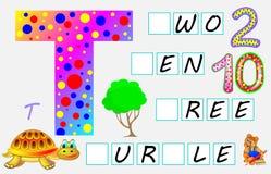 Página educativa para los niños con la letra T para el inglés del estudio Necesite escribir las letras en los cuadrados vacíos Foto de archivo