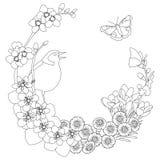 Página elegante floral da coloração da grinalda da mola Ilustração Stock