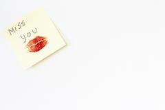Página em branco com mensagem do amor Foto de Stock
