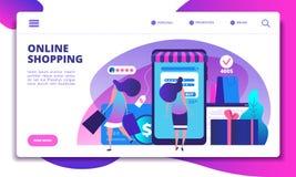 Página em linha da aterrissagem da compra Povos com o smartphone que faz o pagamento do Internet na loja em linha Vetor do Web si ilustração royalty free