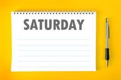 Página en blanco del horario del calendario de sábado Imagenes de archivo