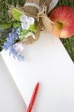 Página en blanco del libro con la pluma roja Imagenes de archivo
