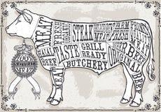 Página en colores pastel del vintage del corte de la carne de vaca Imagenes de archivo