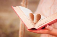 Página en forma de corazón del libro Fotos de archivo libres de regalías
