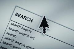Página en línea de la ojeada de la búsqueda Foto de archivo libre de regalías