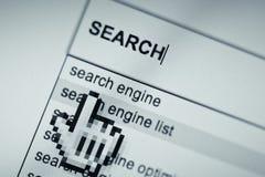 Página en línea del Search Engine Imagen de archivo libre de regalías