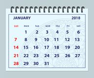 Página enero de 2018 azul en fondo de la mandala Imágenes de archivo libres de regalías