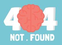 Página error de no 404 cerebros Foto de archivo libre de regalías