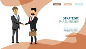 Página estratégica del aterrizaje del vector de la sociedad del negocio libre illustration