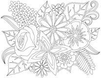 Página floral da coloração da garatuja imagens de stock