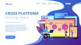 Página fundando da aterrissagem do conceito do erro transversal da plataforma ilustração do vetor