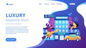 Página inclusiva da aterrissagem do conceito do hotel ilustração stock