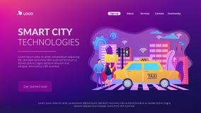 Página inteligente da aterrissagem do conceito de sistema do transporte ilustração royalty free