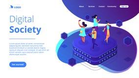 Página isométrica da aterrissagem 3D do comportamento social da rede ilustração royalty free