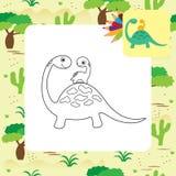 Página linda del colorante de Dino de la historieta Fotos de archivo