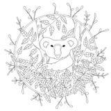 Página linda del colorante del vector con la koala que sube en el ejemplo del árbol de eucalipto en el color, mano dibujada en re fotos de archivo libres de regalías