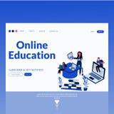 Página moderna plana del aterrizaje del ejemplo del vector del estilo de la educación en línea ilustración del vector
