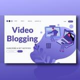 Página moderna publicando em blogs video da aterrissagem da ilustração do vetor do estilo liso ilustração do vetor